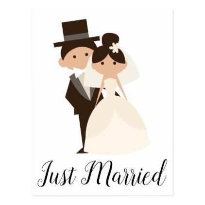 1ce8508a57394c Cartoon Just Married Bride   Groom Wedding Postcard - married gifts wedding  anniversary marriage party diy cyo