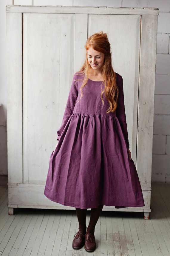 Linen loose dress with long sleeves in midi length//Washed and soft linen dress//Maxi linen dress//Linen maxi dress//Purple lilac lavender Washed linen summer dress
