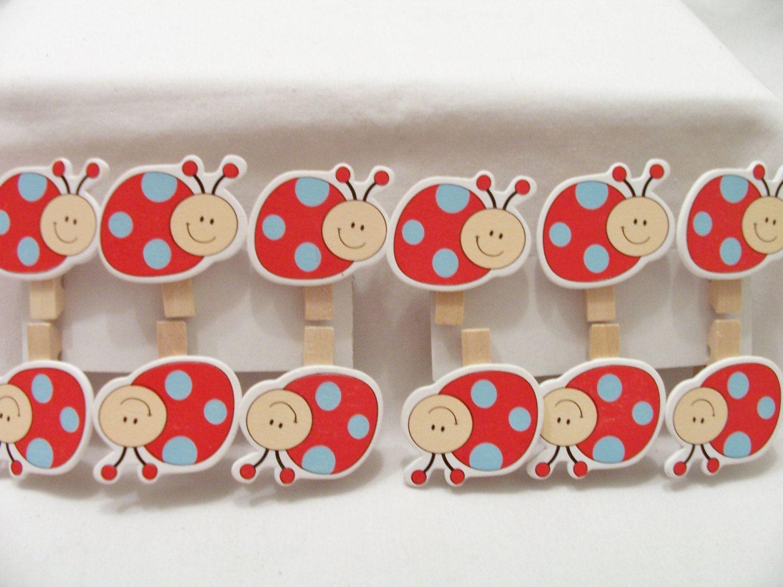 Ladybug ornaments - 24 Ladybug Wooden Peg Ornaments Ladybug Decorations Wood Pegs Birthday Party Ornaments