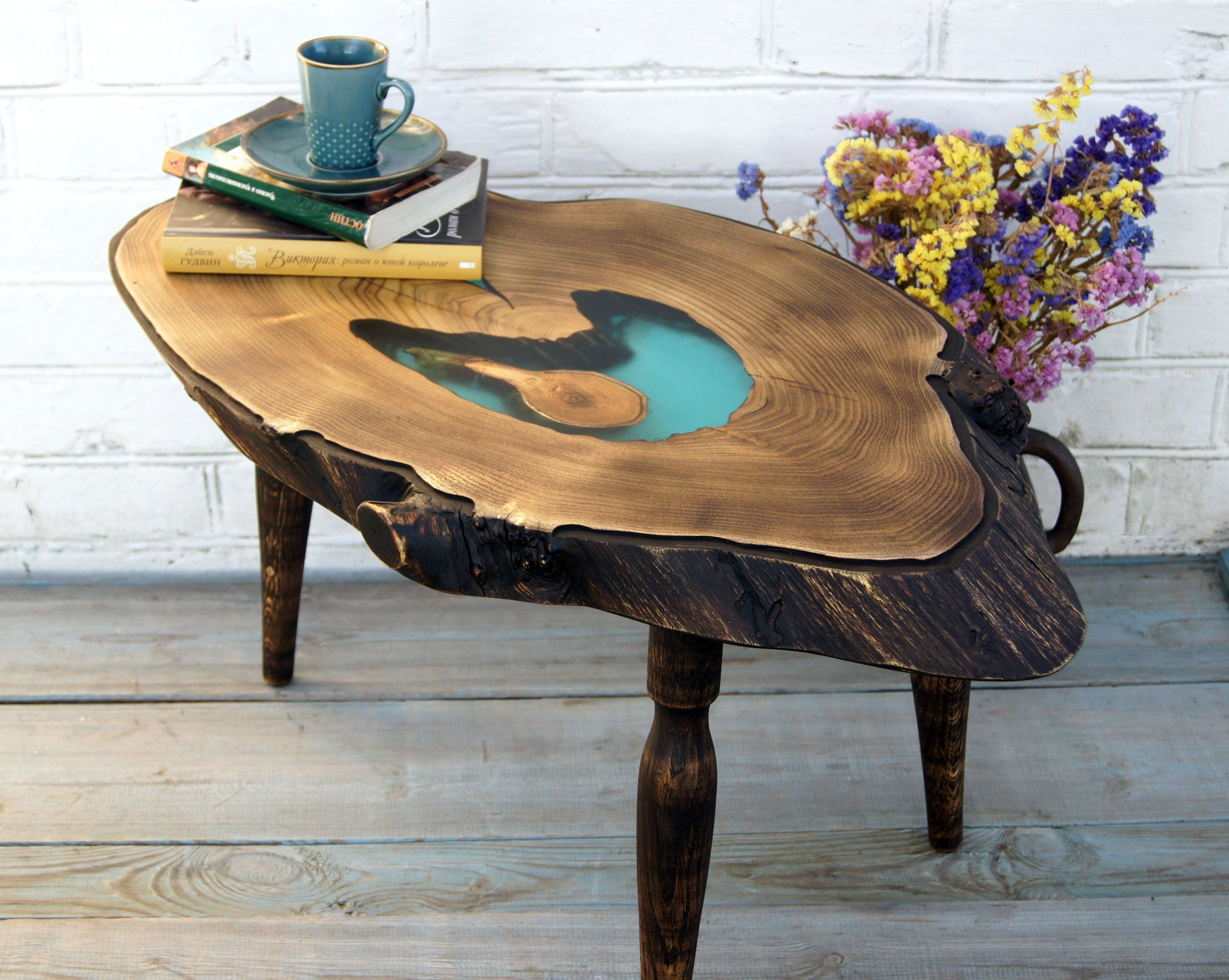 Large Epoxy Resin Coffee Table Live Edge Wood Table Rustic Resin