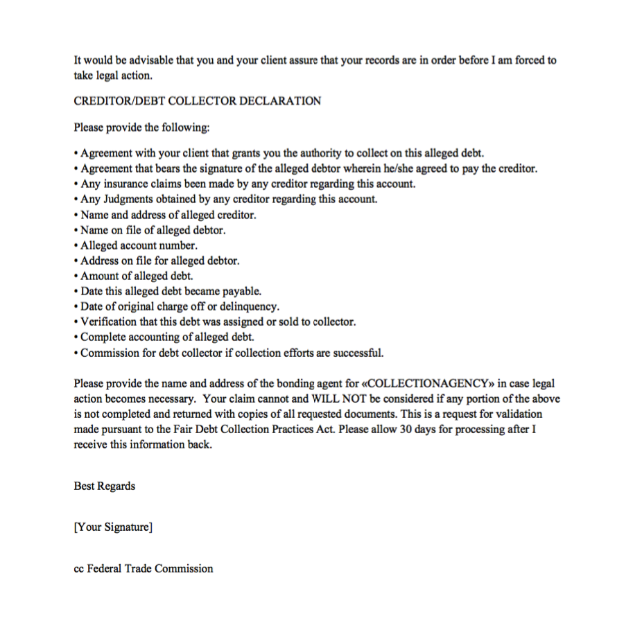 Sample Debt Validation Letter - http://resumesdesign.com/sample-debt ...