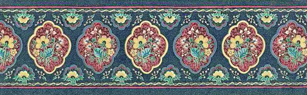 Navy Blue Red Uk Floral Paisley Vintage Textured Wall Border John