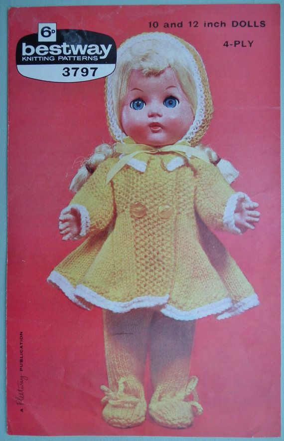 Vintage 1950s 1960s Knitting Pattern Dolls Clothes 10 And 12 Etsy Vintage Knitting Patterns Knitting Patterns Baby Doll Clothes