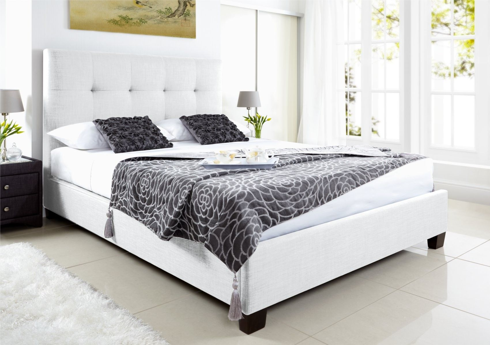 Kaydian Walkworth Ottoman Storage Bed White Leather Beds