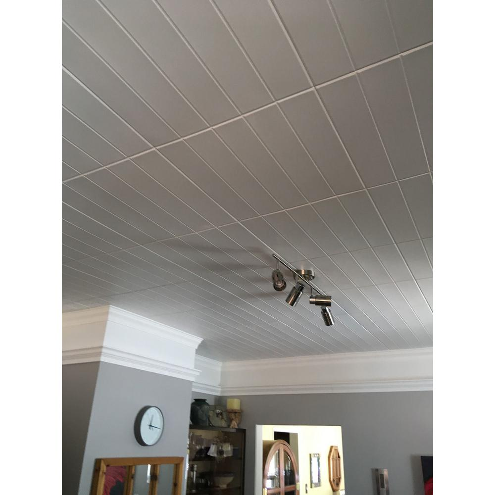 A La Maison Ceilings Bead Board 1 6 Ft X 1 6 Ft Foam Glue Up Ceiling Tile In Plain White 21 6 Sq Plastic Ceiling Tiles Styrofoam Ceiling Tiles Ceiling Tile