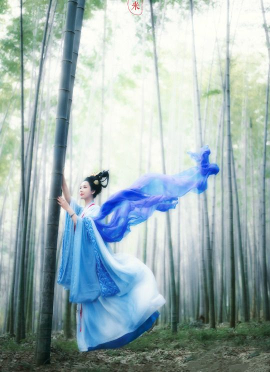 Artistic conception photography: 神女shén nǚ or 仙女 xiān nǚ, immortal beauties living in heavenly realm in Chinese legends and myths. | Traditional chinese hanfu in tang dyansty style. Photo by 塔米摄影.