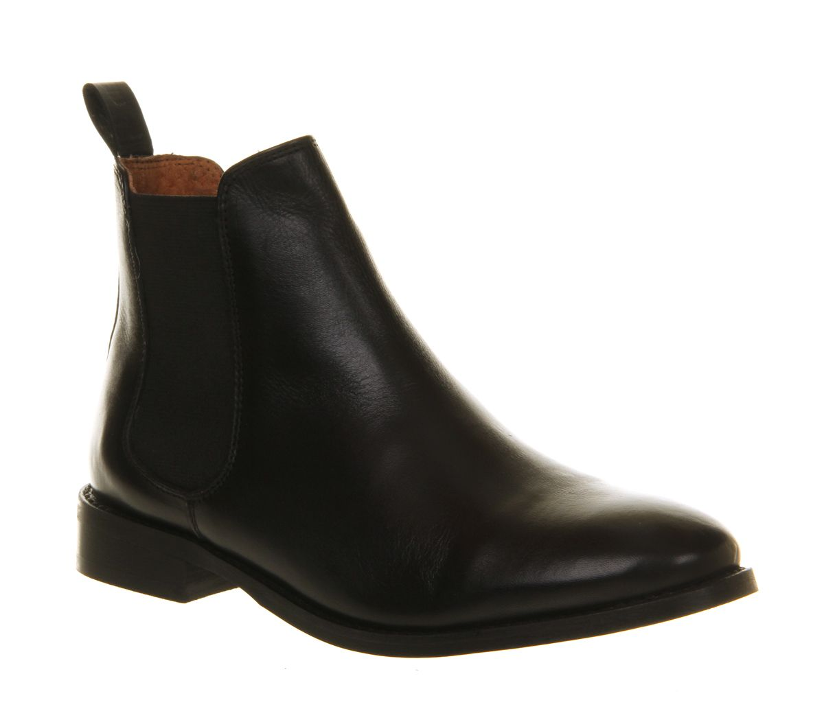 Office Bramble Chelsea Black Leather Ankle Boots