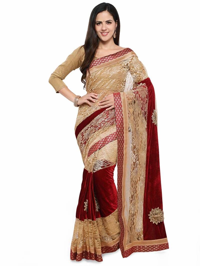b953cca7a8 Beige Colored Embroidered Velvet Saree With Blouse, Contrast Border And  Fancy Pallu
