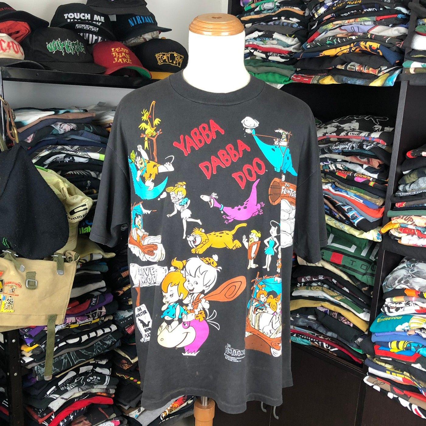 American Vintage 90s The Flintstones Cartoon Allover Print Tshirt Grailed American Vintage Clothing American Vintage Vintage Shirts
