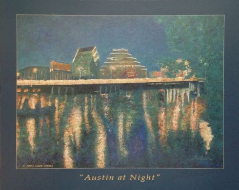 Austin At Night Print Of Painting With Sig Gift Images Via