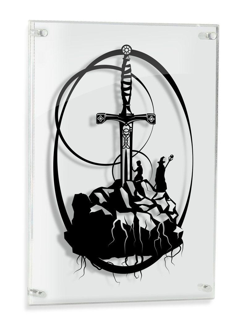 Framed Excalibur Caliburn Merlin Artwork King Arthur Legendary Sword In Stone Round Table Camelot Geek Artwork Geek Gift Papercut Dessin Tatoo Dessin Tatouage