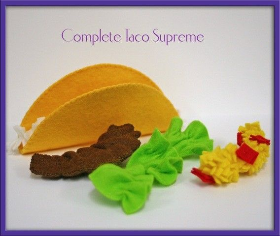 Natural Wool Felt Play Food Taco Waldorf Inspired by EvaLauryn