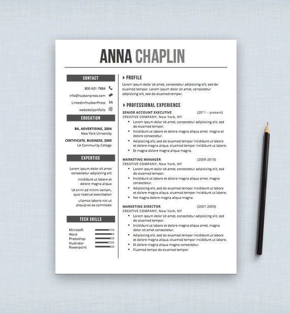 Graphic Design Resume Template Resume Template  Cv Template  Cover Letter  Letterhead