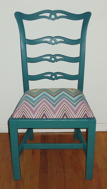 Refurbished vintage teal painted wooden chair - Refurbished living room furniture ...