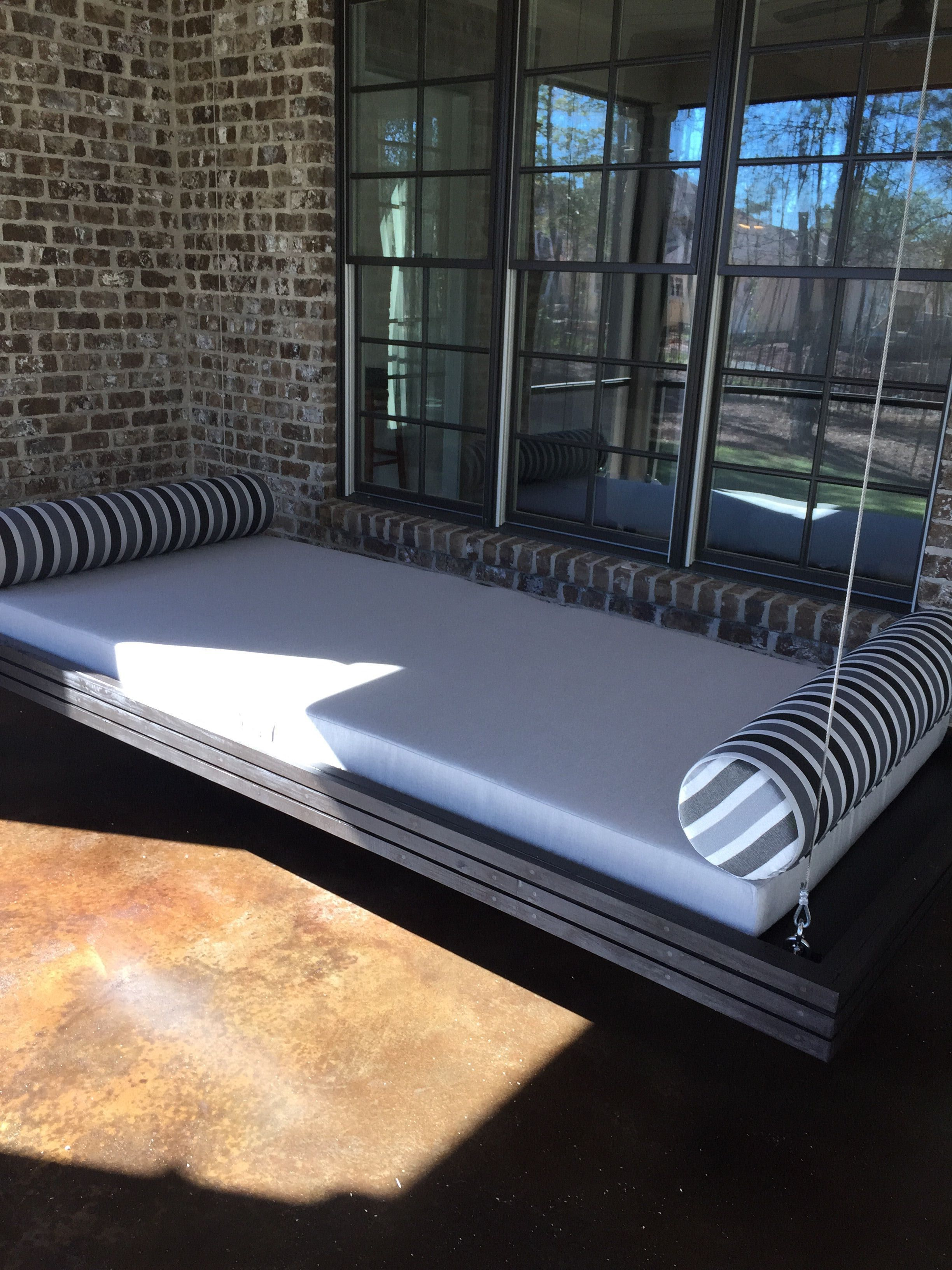 Floating Daybed With Custom Outdoor Cushion Featuring Sunbrella