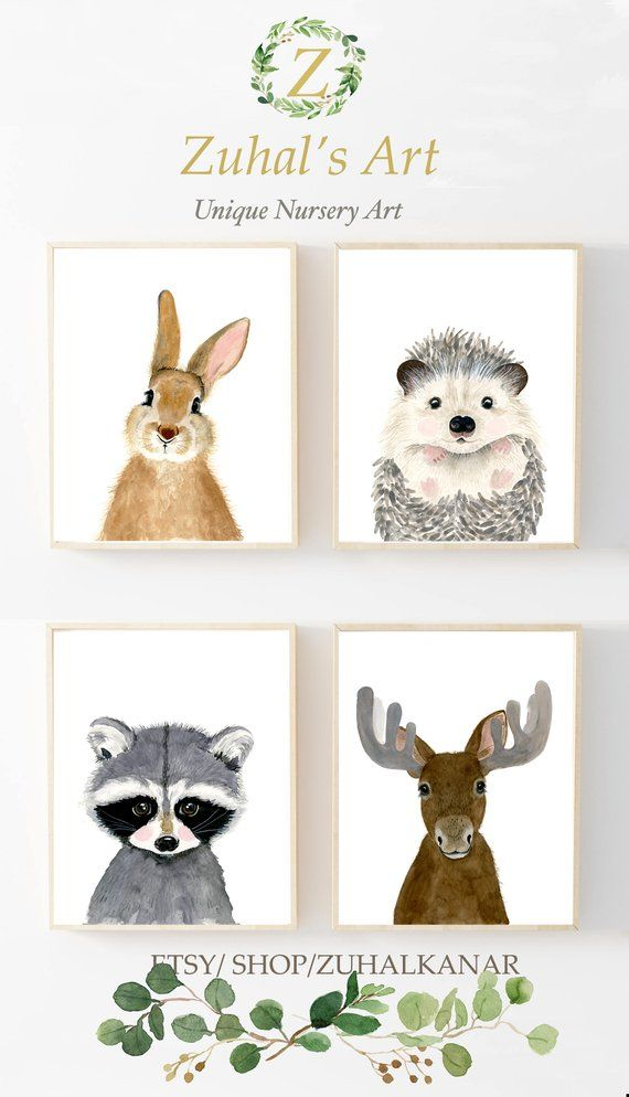 Woodland nursery set, Set of 4 Prints, Animal Paintings,moose, hedgehog, rabbit, raccoon, nursery decor, Nurser yprints, nurserywall art #watercolorart