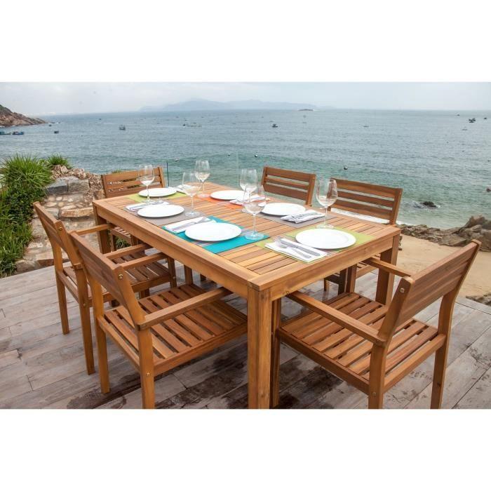 SALON DE JARDIN Ensemble 1 table rectangulaire + 6 fauteuils en ...