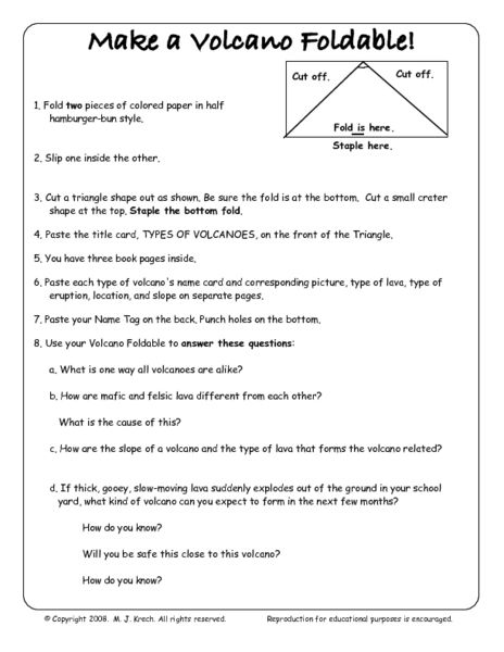 Make A Volcano Foldable 5th 8th Grade Worksheet Lesson Pla With
