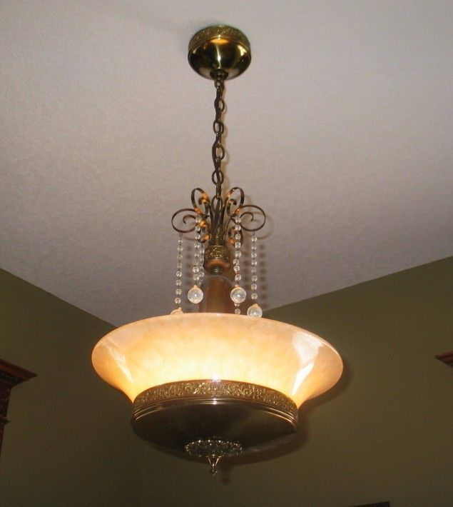 1920 S Gill Co Art Deco Carnival Gl Br Chandelier Ceiling Light Fixture