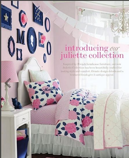 Navy Blue Kids Rooms: Pink And Navy: Mallory Bedding