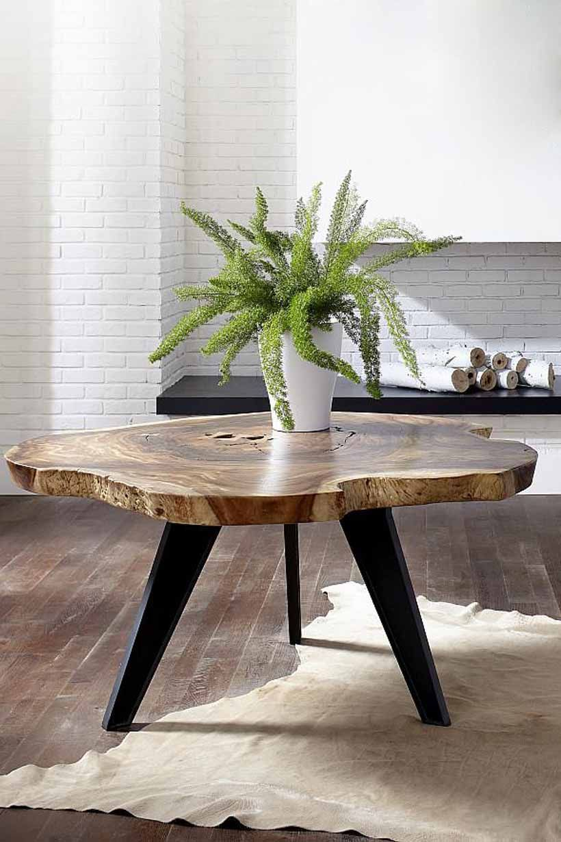 Round Chamcha Dining Table With Tapered Legs Blacklegs
