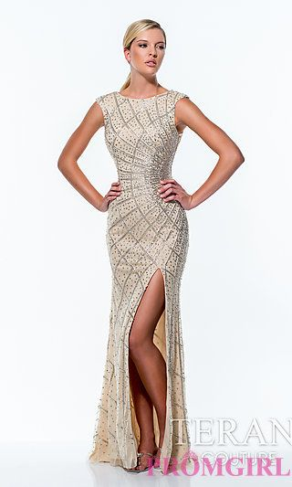Long Beaded High Neck Dress by Terani at PromGirl.com