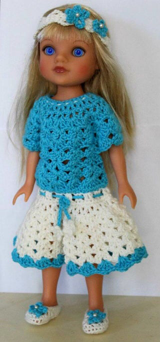 Crochet Doll Dress Outfit #dolldresspatterns