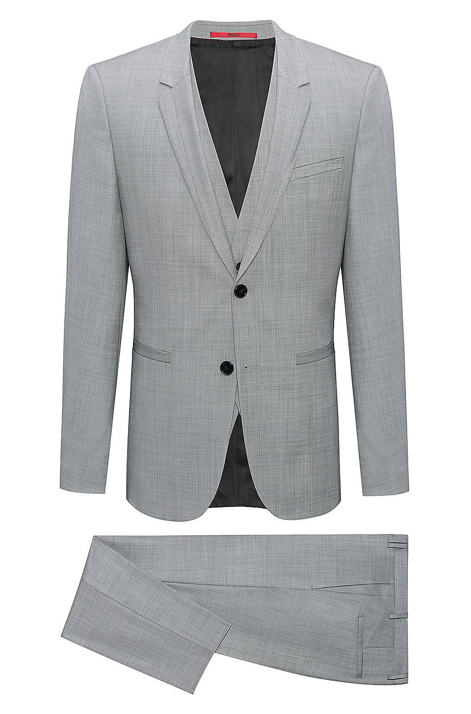 731fac51 Hugo Boss Extra-slim-fit three-piece suit in check wool - Open Grey  Business Suits from HUGO for Men in the official HUGO BOSS Online Store  free shipping