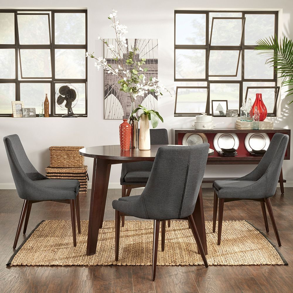 Homevance Allegra Dining Table Chair 5 Piece Set Grey