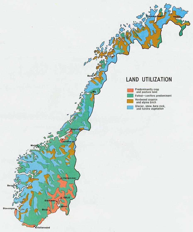 Land Utilisation In Norway Vietas Pinterest Norway Map - Norway glacier map