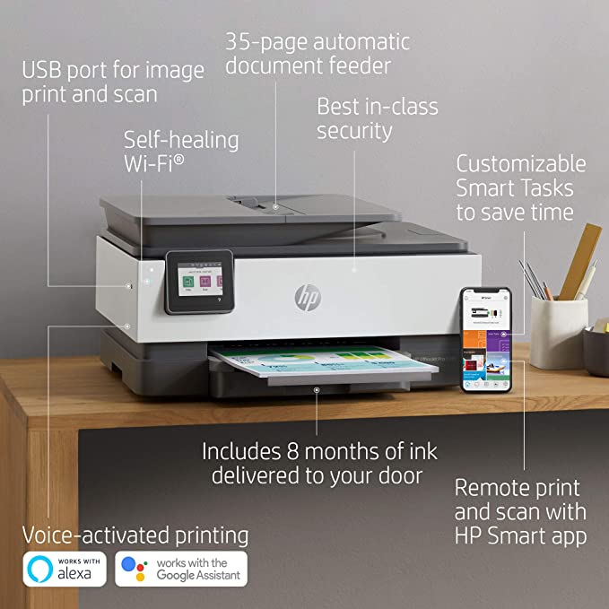 Amazon Com Hp Officejet Pro 8035 All In One Wireless Printer Includes 8 Months Of Ink Delivered To Your Door S Wireless Printer Hp Instant Ink Hp Officejet