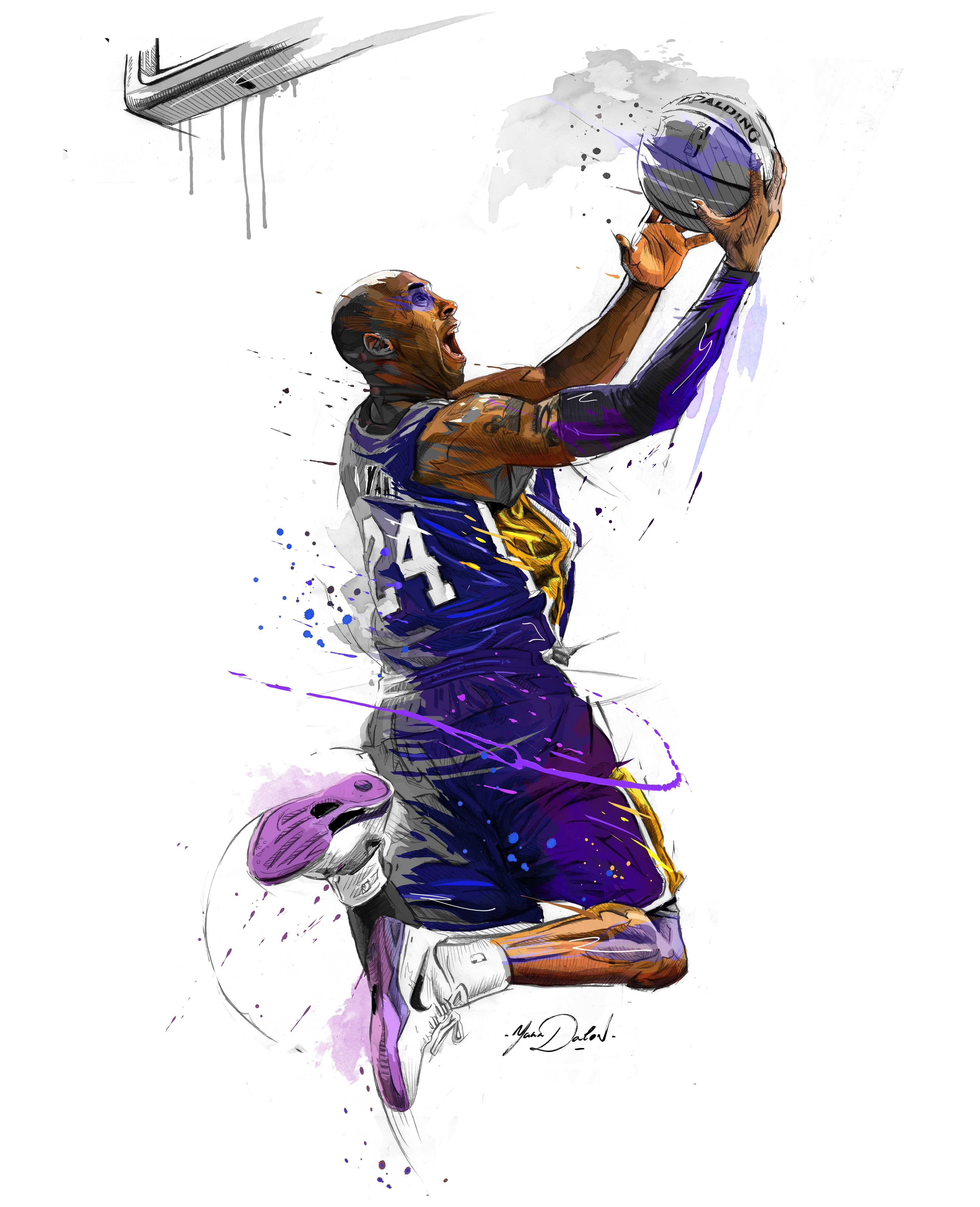 My painting of Kobe Bryant. Kobe bryant dunk, Basketball