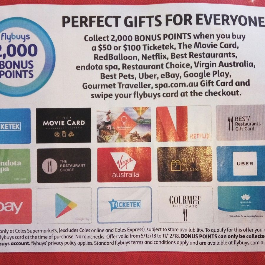 2 000 Flybuys Worth 10 With 50 Or 100 Gift Cards Ebay Netflix Google Play Uber Virgin Ticketek More Coles Movie Card Gift Card Google Play