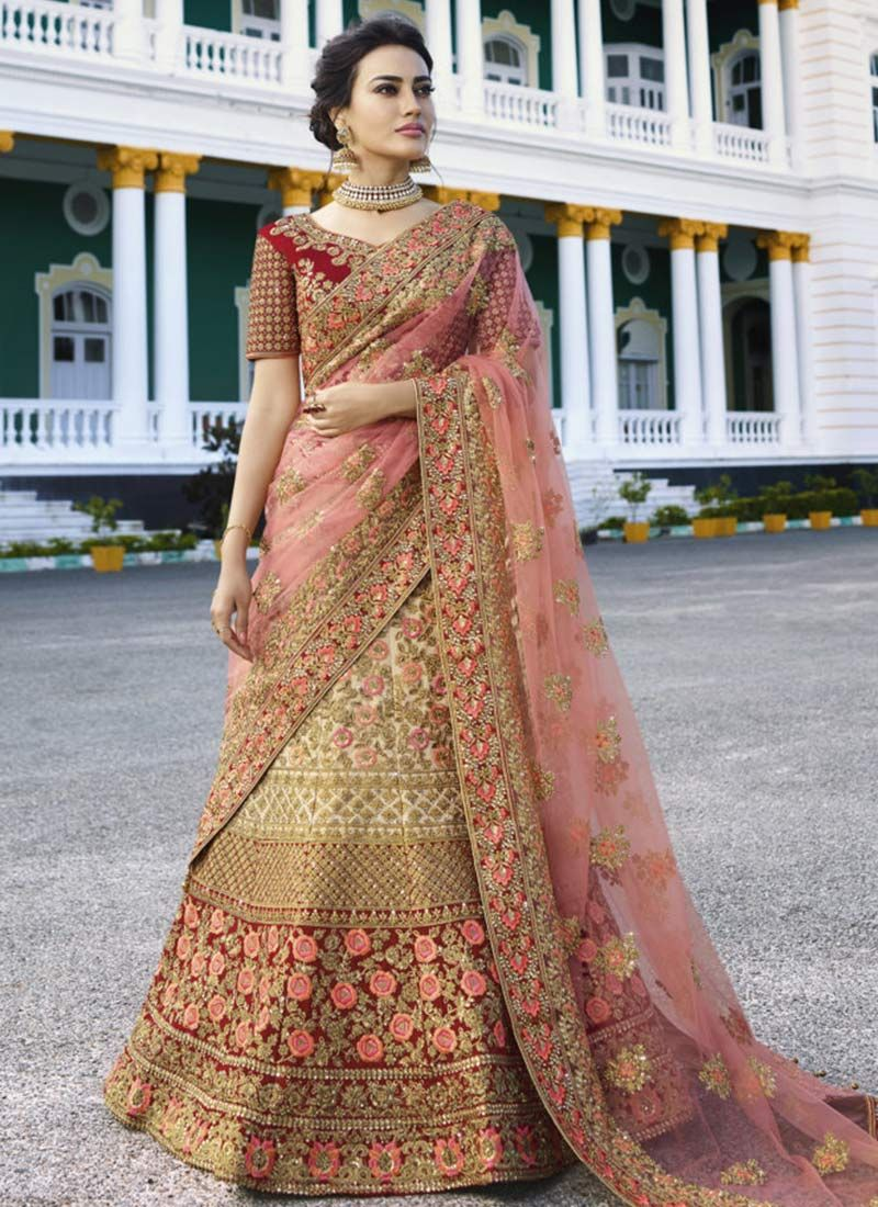 f41efee5ce Buy Cream N Red Embroidered A Line Lehenga online, SKU Code: GHMKNS13173.  This Red color Wedding a line lehenga for Women comes with Embroidered Art  Silk.