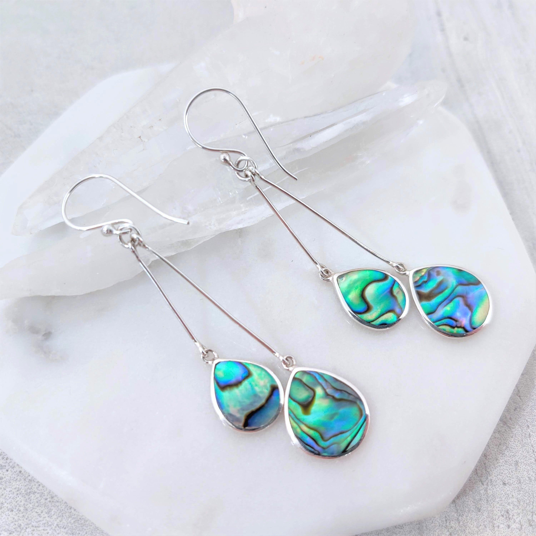 Oval Blue PAUA ABALONE SHELL /& 925 Sterling Silver Earrings Jewelry
