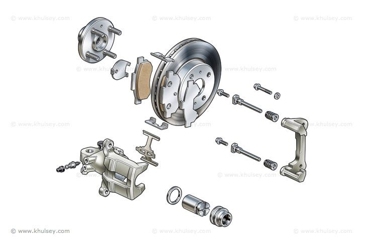 This diagram shows a car's full disc brake assembly with