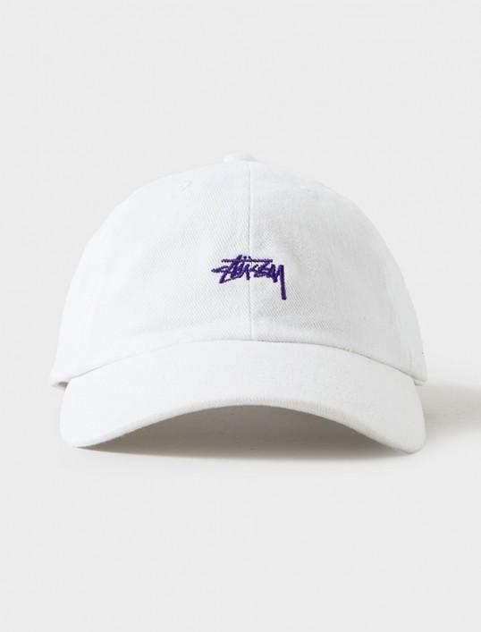 Men's / Women's Stussy Basic Stock Logo Embroidery Signature Logo OSFA Strap Back Dad Hat - White / Purple