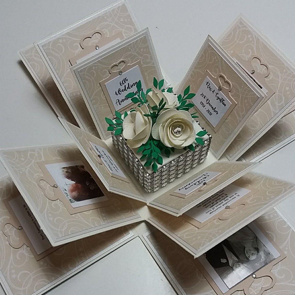 Exploding 60th Diamond Wedding Anniversary Box Card Etsy Diy Anniversary Gift Diy Anniversary Gifts For Him Wedding Gift Cards
