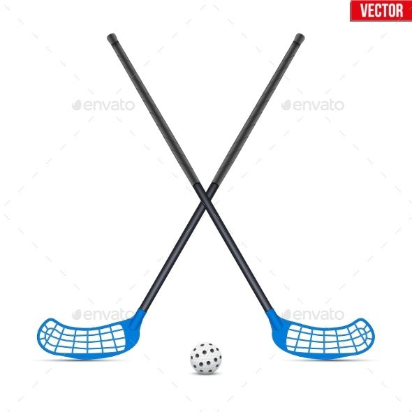 Symbol Of Ball And Sticks For Floorball Symbols Vector Design Ball