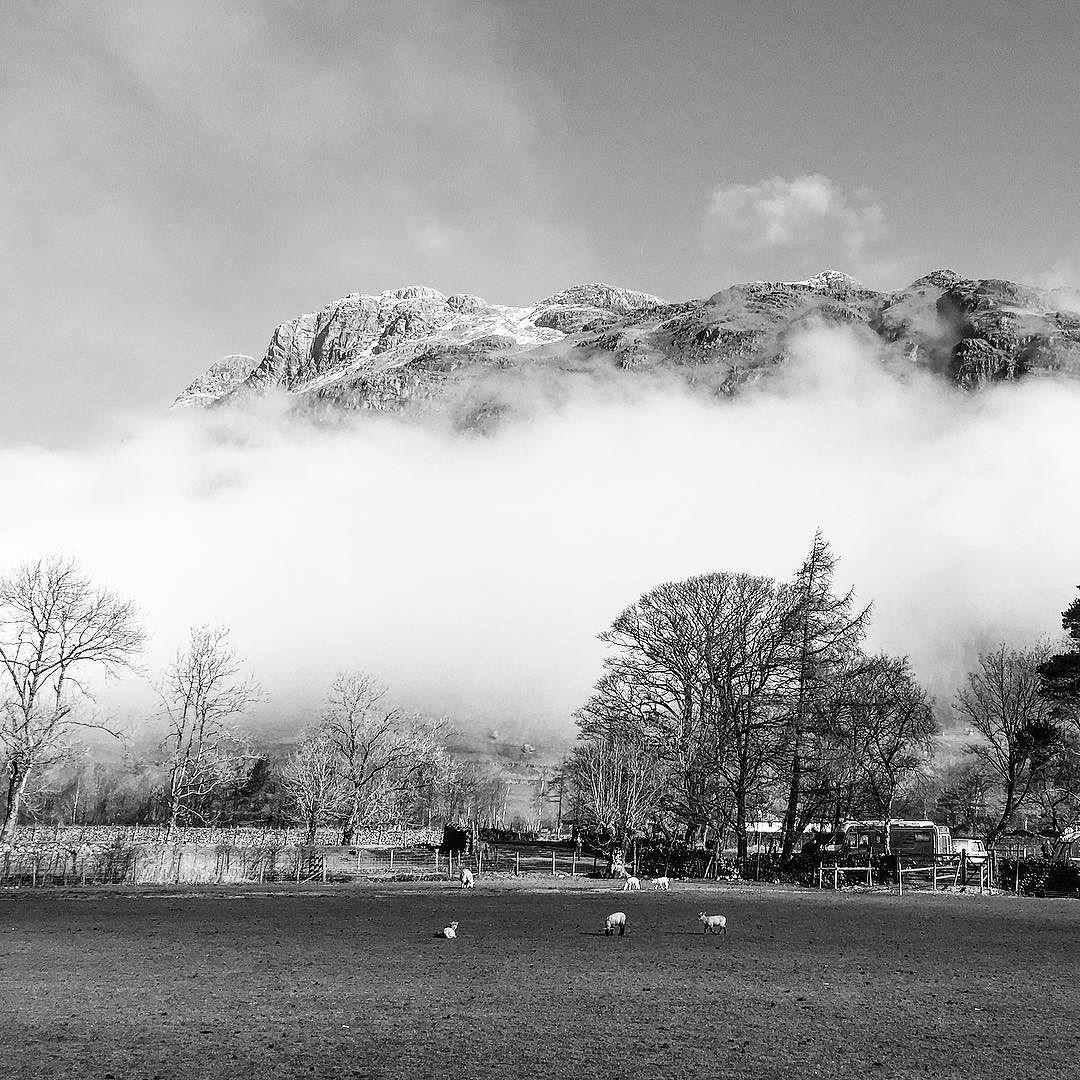 Waking up to this view from a tipi. #hikingadventures #hiking #onelife #theplacetobe #misty #landscape #LakeDistrict #lifeofadventure #cumbria #Cumbriaisopen #langdale #langdales #walkingthewainwrights #wainwright #wainwrights #blackandwhite #englandsbigpicture #blackandwhite #mountains
