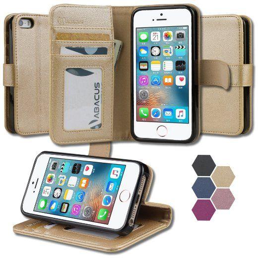 disponibilità nel Regno Unito 91384 c43ed Amazon.com: iPhone SE 5 5S Case, Abacus24-7 Leather Wallet w ...