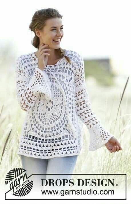 DROPS crochet tunic Free pattern | camisolas | Pinterest | Chaquetas ...