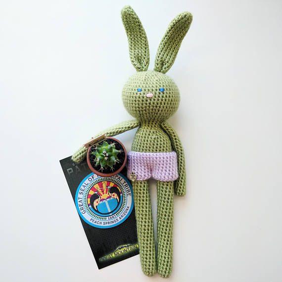 Green crochet bunny rabbit stuffed toy, Crochet bunny, Gift idea ...