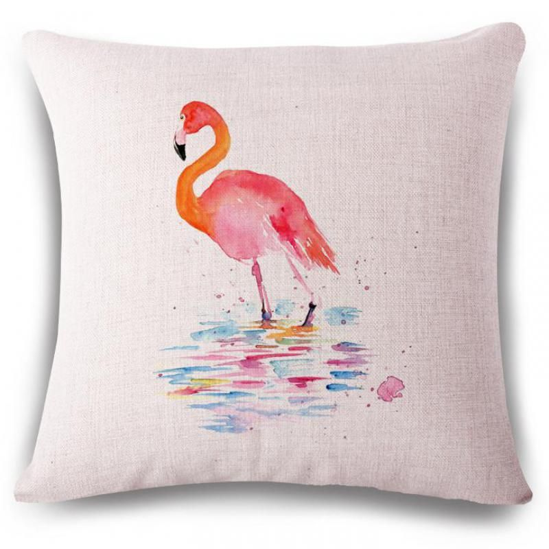 Manufacturers Wholesale Customzed Pink Flamingos Printed Cotton Simple Decorative Pillow Manufacturers