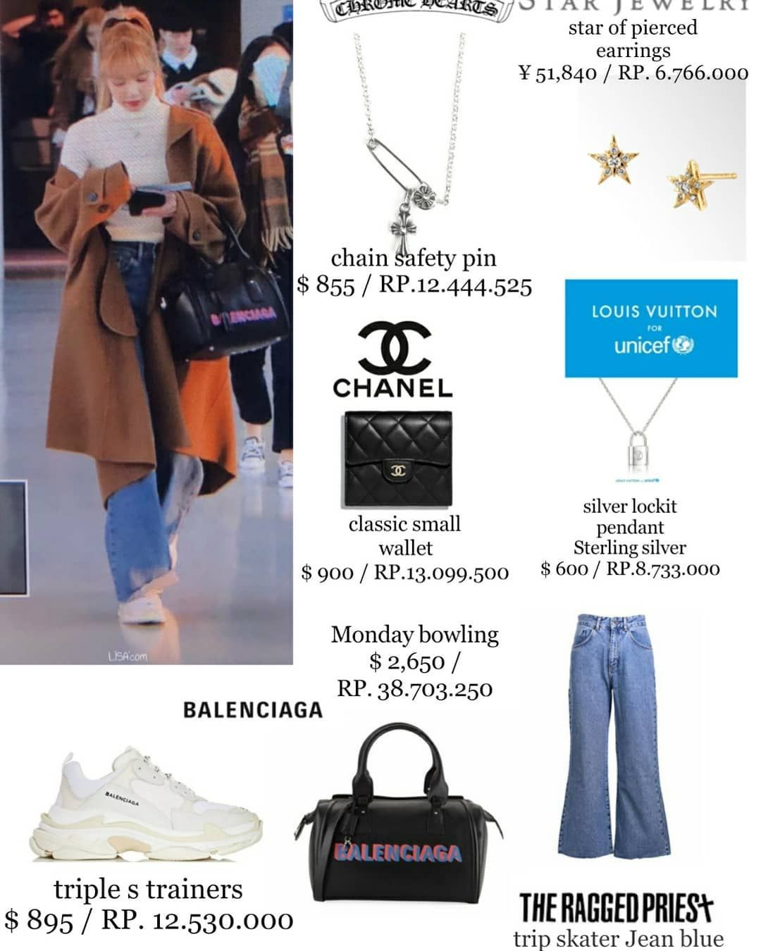 Fashionblackpink On Instagram Lalalalisa M Airport Style Earrings Star Jewelry Gift By Fans Jeans Kpop Fashion Outfits Blackpink Fashion Kpop Fashion
