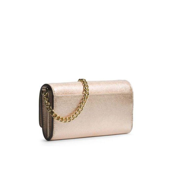 5e34da05bc16 MICHAEL Michael Kors Jet Set Travel Saffiano Leather Chain Wallet Gold