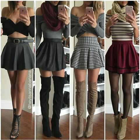 Black Boots Fashion Outfits Red Skirts Thigh High