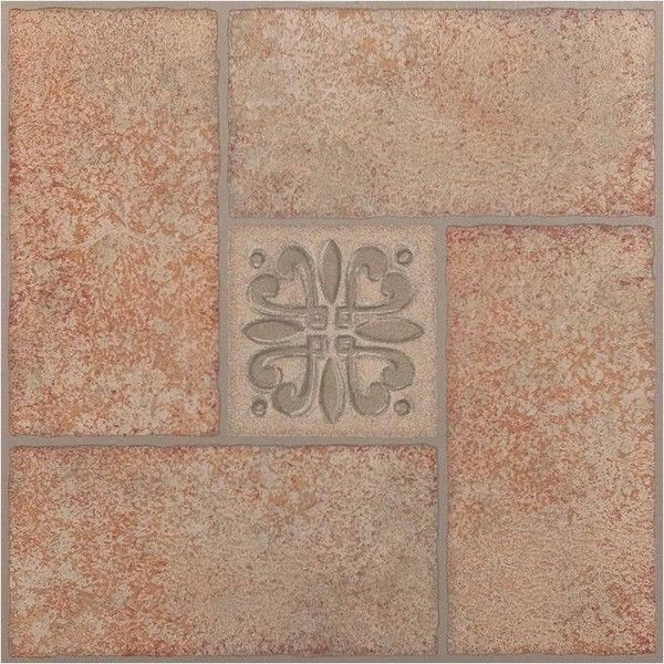 Nexus Beige Terracotta Motif Center 12x12 Self Adhesive Vinyl Floor 17 Liked On Polyvore Featuring Self Adhesive Vinyl Tiles Tile Floor Vinyl Flooring