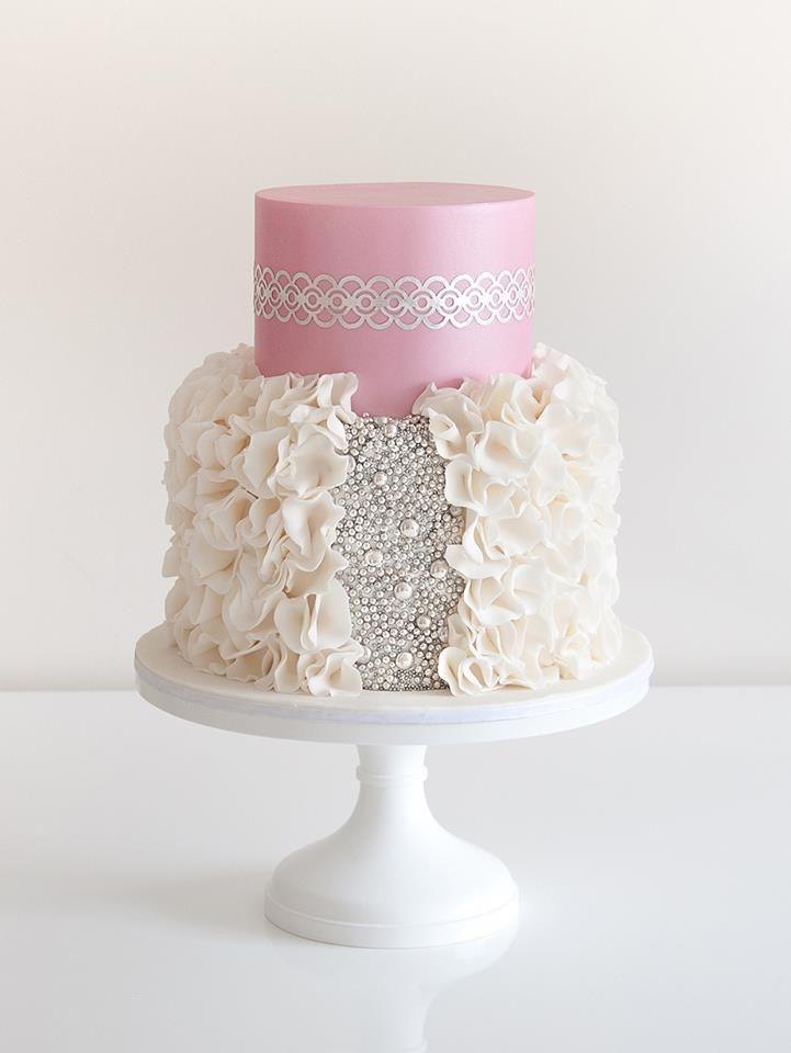 Pink, Silver & White Cake