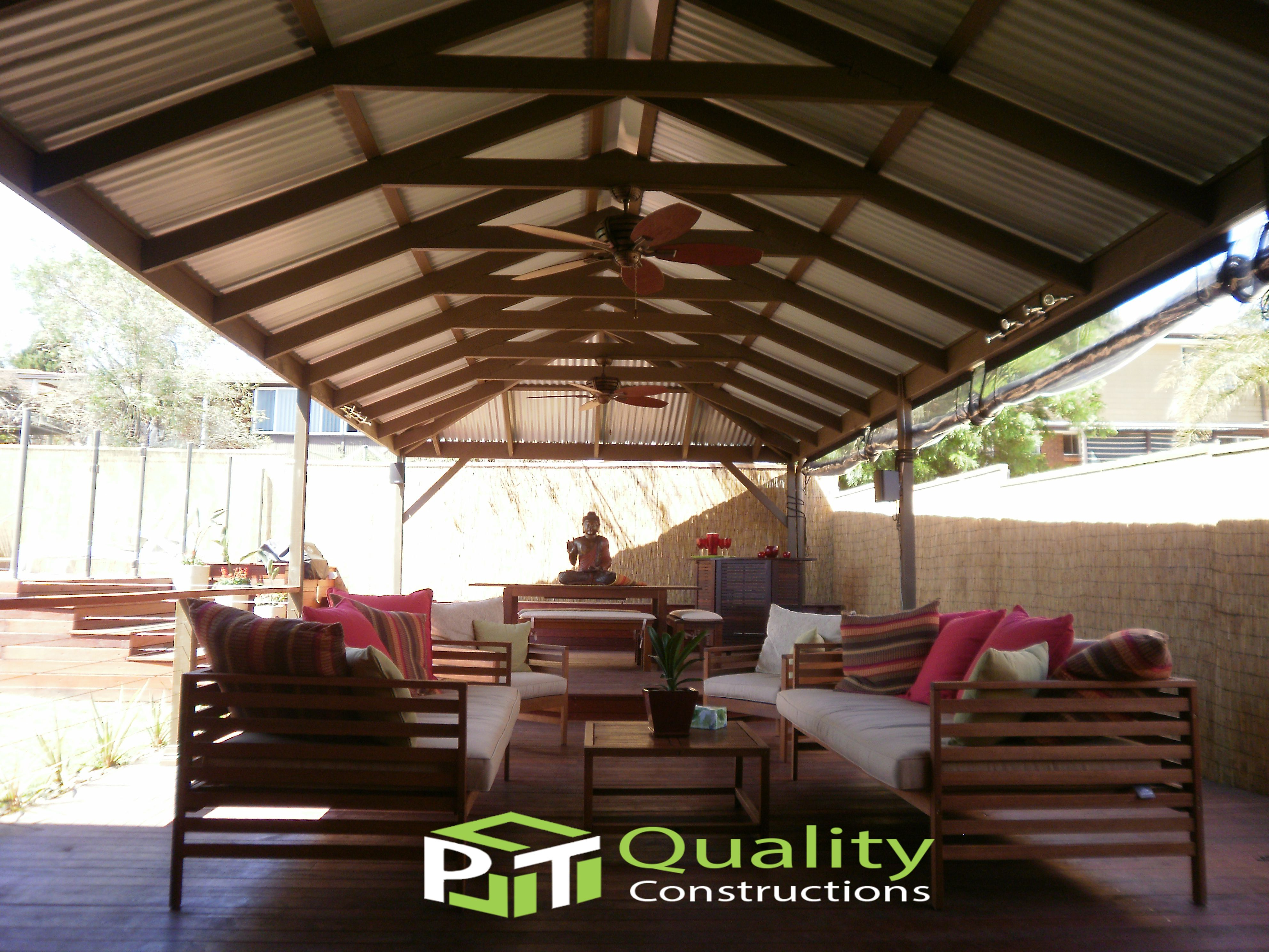 Gable timber framed pergola with corrugated roofing